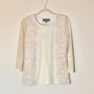 Anthropologie Ecru 3/4 Sleeve Lace Top, size M